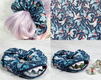 Christmas Dragon Zipper Mimic Scrunchie, Dnd Dice Fabric, Stash, Stashie, TTRPG, Dice, RPG, Gaming, Hair Tie, Elastic