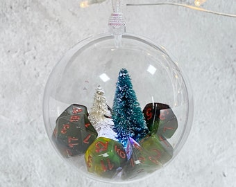 Resilient Sphere Dice Ornament - Merry & Bright, Holiday, Christmas, Dnd Gift