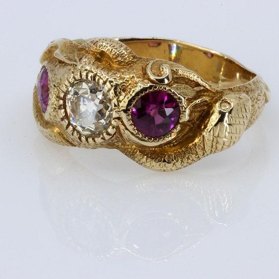 Victorian Diamond & Garnet Snake Ring