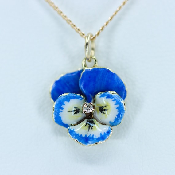 Enamel Pansy Necklace