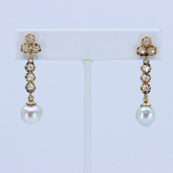 Early Diamond and Baroque Pearl Earrings