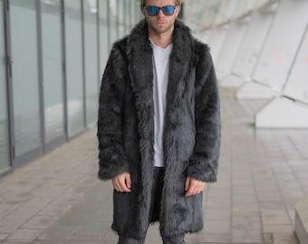 Luxurious snood-collar fake fur wolf grey with liberty