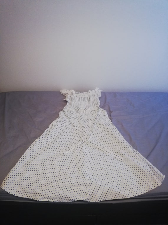 1940s dotted pinafore style cotton dress