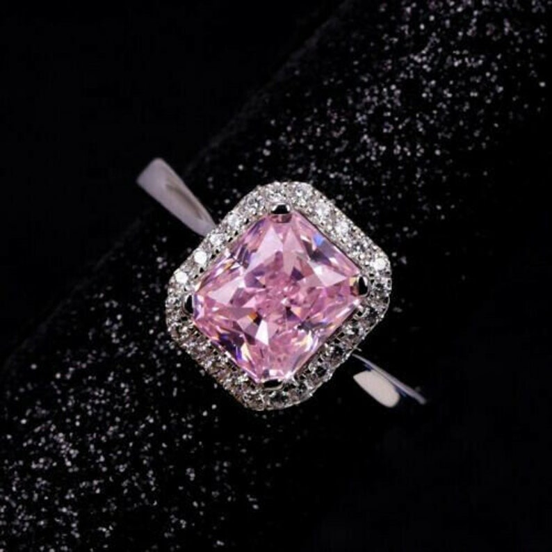 2.5Ct Cushion Cut Pink Sapphire 925 Sterling Silver Halo Engagement Wedding Valentine Gift Ring for Her