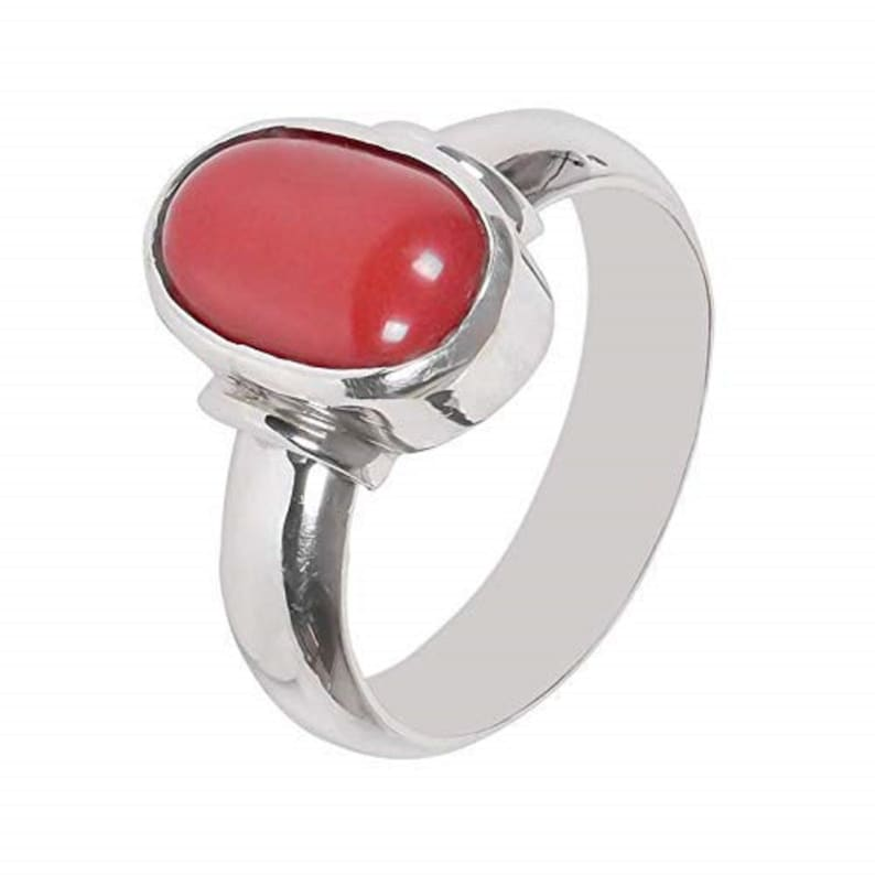 925 Sterling Silver Certified Natural 7.25 Carat  Red Coral Moonga Gemstone Ring for Men and Women