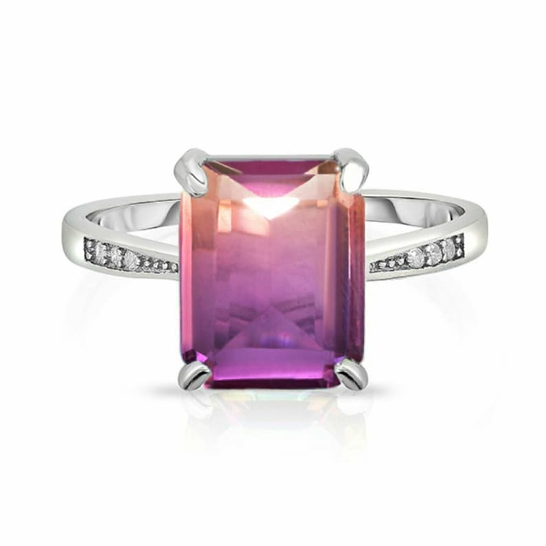 4.00 Carat Genuine Natural Ametrine Emerald Cut Shape Gemstone 925 Sterling Silver Christmas Wedding Ring For Girl/'s