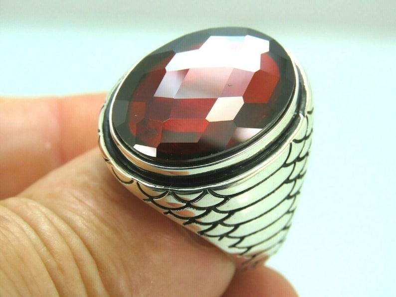 925 Sterling Silver 9.00 Carat Certified Natural  Hessonite Garnet Gemstone Vintage Ring For Unisex