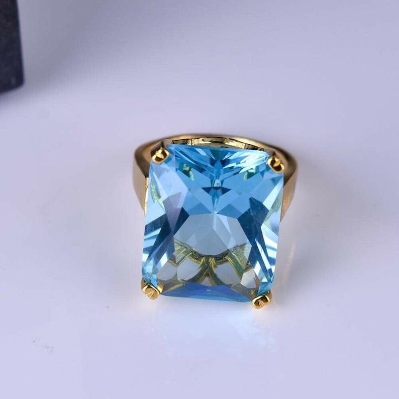 Natural Aquamarine Diamond Ring  Sterling Silver Goldplated Women/'s Big Engagement Wedding Halloween Ring