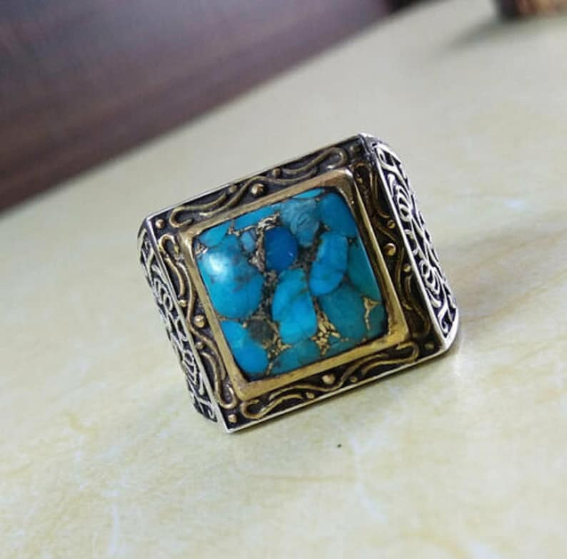 925 Sterling Silver 8.25 Carat Natural Turquoise Gemstone Mens Ring Jewelry