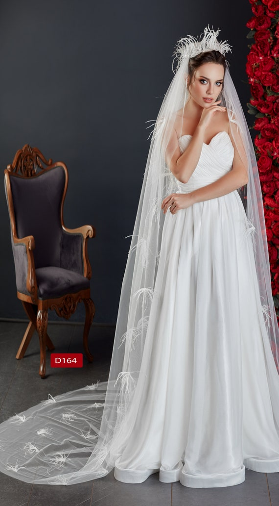 First Quality Bridal Veil  Lace and Shiny Tulle Wedding Veil  Lace Shiny Tulle  Veil D-162