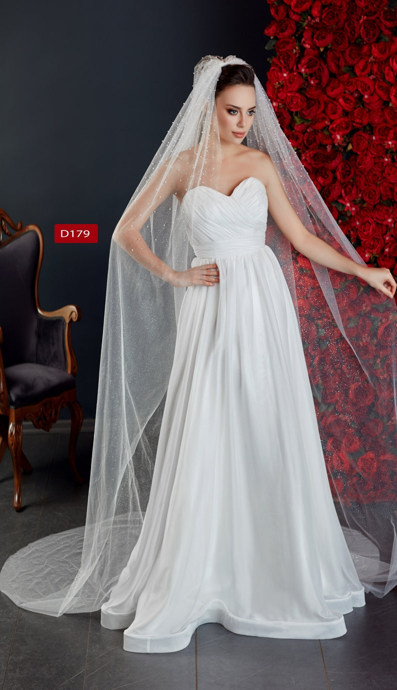 First Quality Bridal Veil  Soft Tulle with Perle Wedding Veil  Soft Tulle  Veil D-179