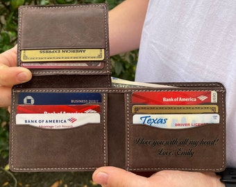 Anniversary Gift For Boyfriend, Personalized Wallet, Engraved Wallet,Leather Wallet,Mens Wallet,Custom Wallet,Birthday Gift For Him,Dad Gift
