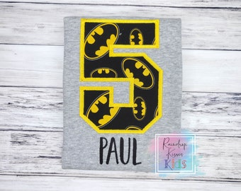 Batman Personalized Birthday Number Shirt - Batman Custom Birthday Shirt - Batman Birthday Party - ANY NUMBER with Name