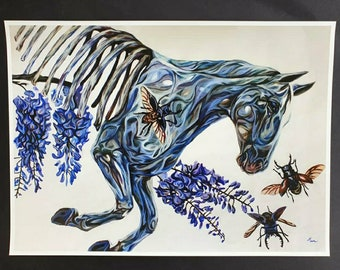 Wisteria Horse, Art Print, 13 x 18 Inches