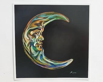 Crescent Moon, Art Print, 8 x 8 Inches