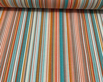 Striped Upholstery Fabric, Ticking Fabric, Pinstriped Fabric, Farmhouse Fabric, Cottage Fabric by Yard, Colorful Canvas Home Decor Fabric