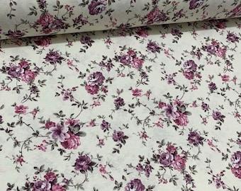 Boho Floral Fabric, Purple Rose Fabric, Lilac Flower Fabric, Pastel Retro Print Upholstery Curtain Cushion Chair Drapery Decor Fabric Yard