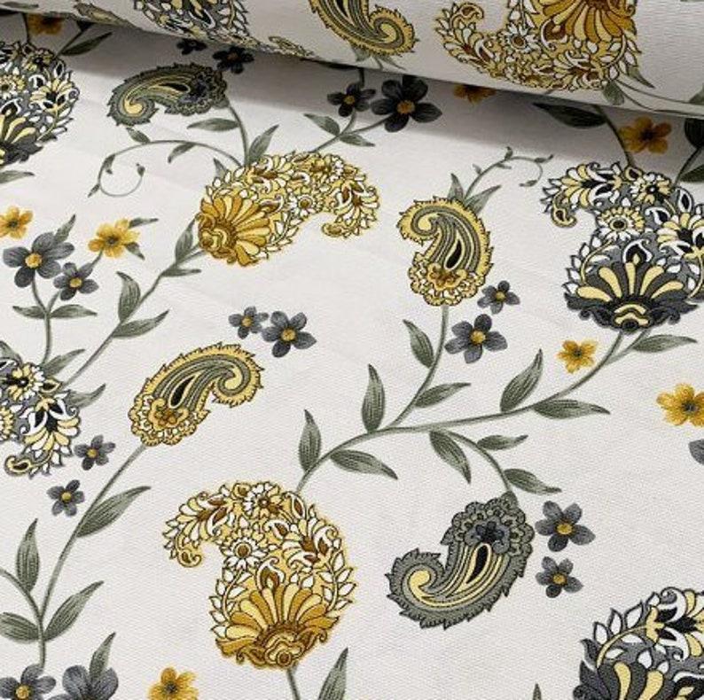 Interior Design Fabric Oriental Upholstery Fabric Bohemian Turkish Canvas Home Decor Fabric Yard Floral Paisley Fabric Designer Fabric