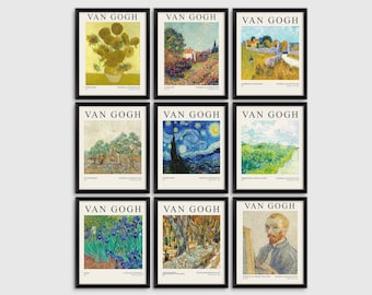 Van Gogh Paintings Double Sided  Banner Paper Bunting Gallery Decor Vincent Van Gogh Paintings Art  Banner Event Banner Wall Decor