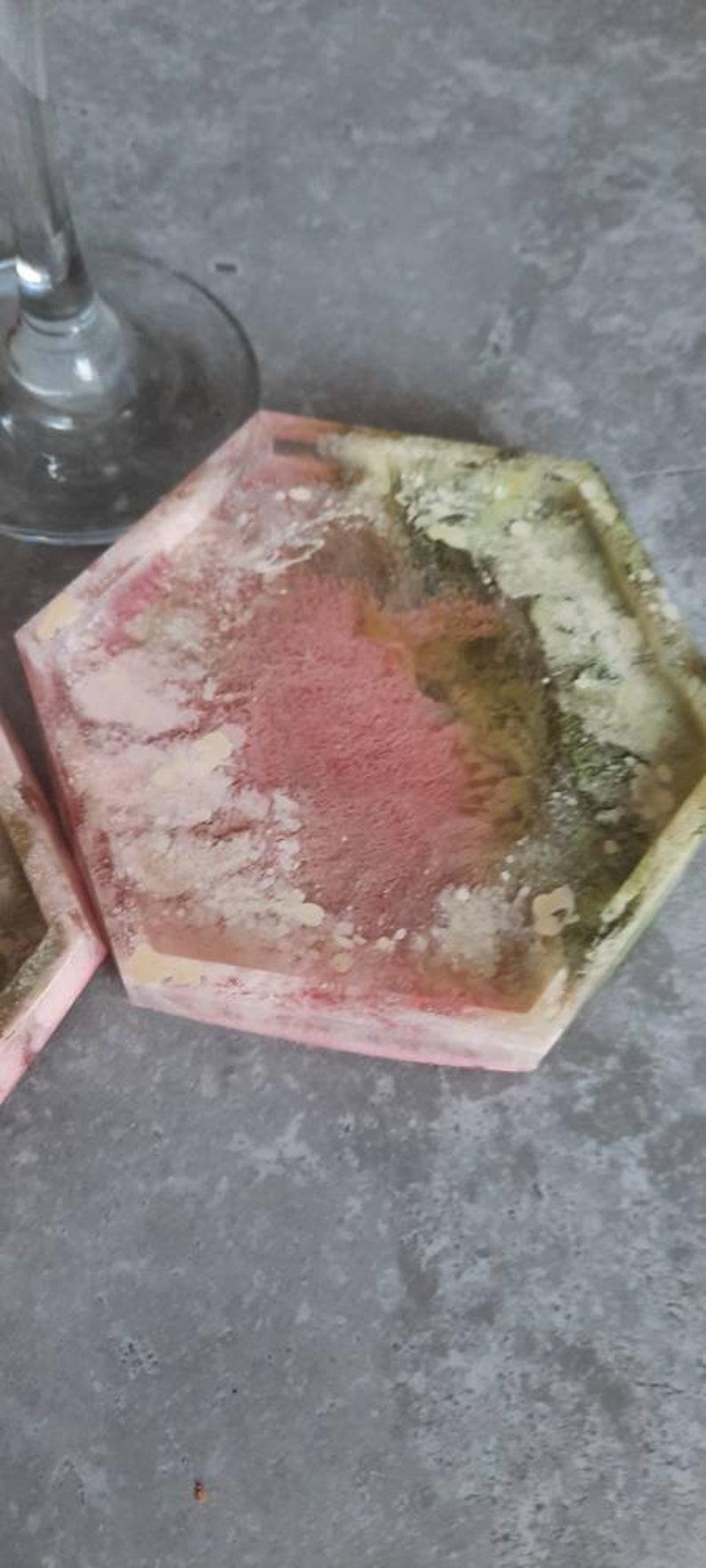 resin petri coaster,alcohol ink coaster,resin coaster,resin tray,GRADE B coaster,hexagonal pink peach resin coaster,resin candle holder,