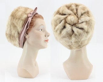 Net 1950s Mink /& Net Hat and Fur Open Crown Pillbox Hat With Metallic Rhinestone Snowflake Accent Vintage 50s Dark Brown Velvet