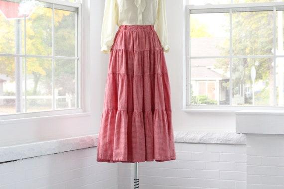 80s Gingham Western Ruffle Skirt - image 6