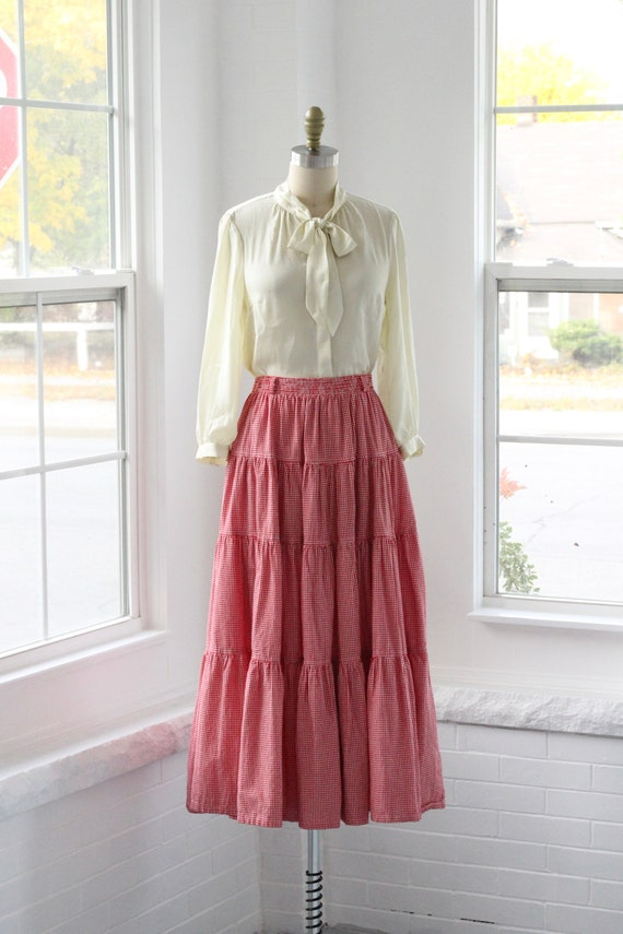 80s Gingham Western Ruffle Skirt - image 2