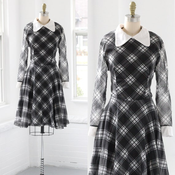 60s Plaid Peter Pan Collar Shirtwaist Dress