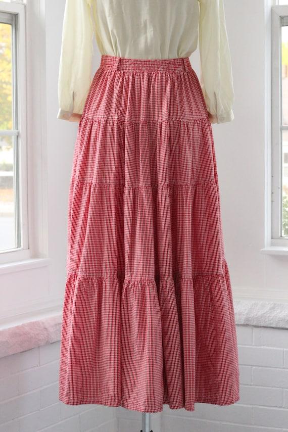 80s Gingham Western Ruffle Skirt - image 3