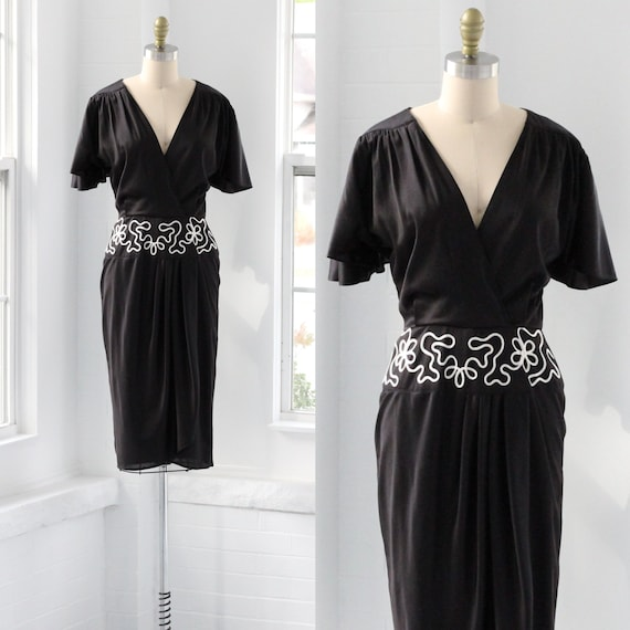 80s does 40s Black Tulip Dress
