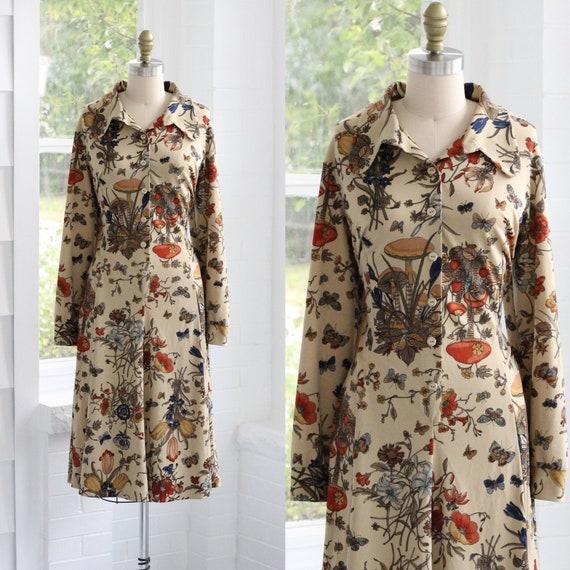 70s Fungi Floral Shirtwaist Dress