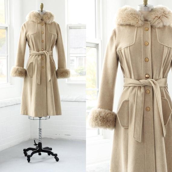 50s Wool Princess Coat Faux Fur Trench Parka