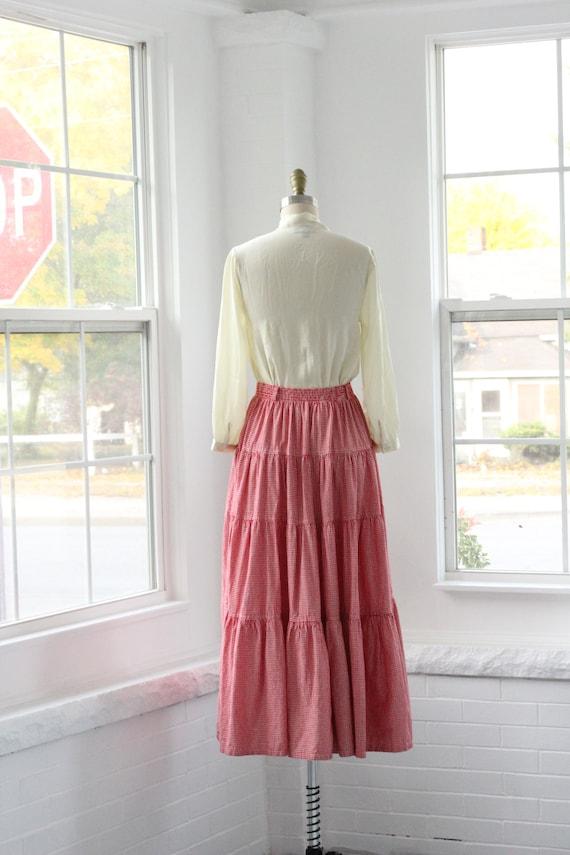 80s Gingham Western Ruffle Skirt - image 5