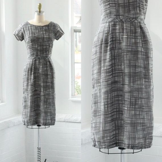 60s Grey Crosshatch Sheath Dress