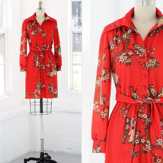 70s Cherry Blossom Shirtwaist Dress