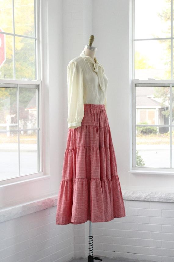 80s Gingham Western Ruffle Skirt - image 4