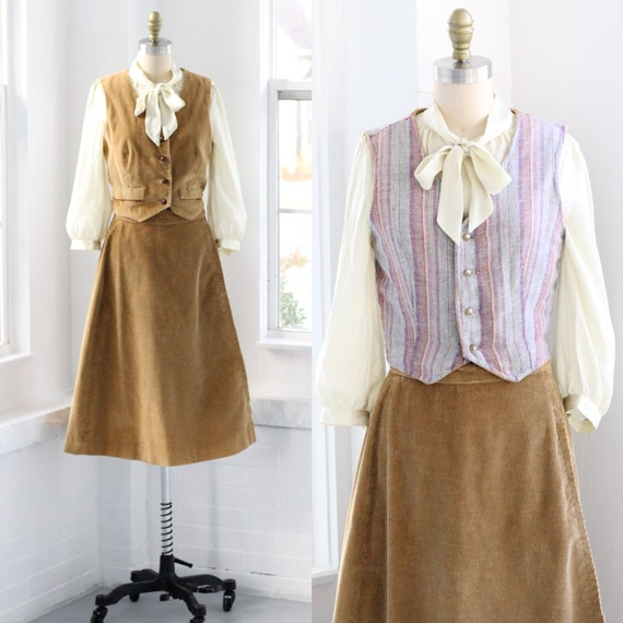 70s Western Corduroy Skirt Set Coordinates