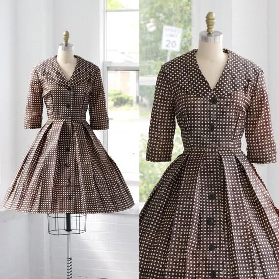 50s Plaid Shirtwaist Circle Dress