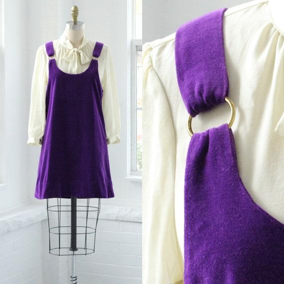 60s Velvet Jumper Overall Dress