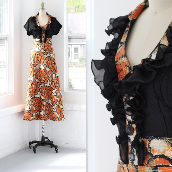 70s Ruffle Butterfly Collar Maxi Dress Midcentury
