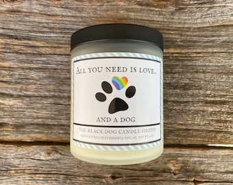All You Need is Love Candle, Rainbow Paw Print Gift, Rainbow Gifts