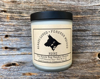 German Shepherd Dog Sympathy Personalized Candle, Dog Bereavement Gift, Loss of a dog gift