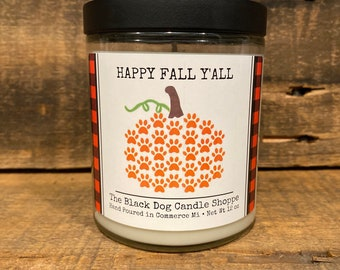 Happy fall y'all, pumpkin paw print candle, dog themed candle gifts, gifts for dog lovers, candle lover gift