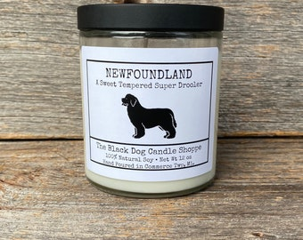 Newfoundland Candle, Gift for Newfoundland lover, Dog themed candles