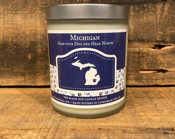Michigan up north dog themed candle, head up north,  Michigan dogs