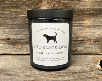 Black Dog Candle, Farmhouse styled dog candle,  dog themed gifts, gift for dog lover