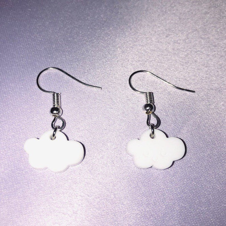 Handmade Silver Plated Acrylic Cloud Charm Earrings