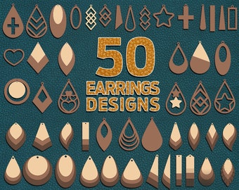 50 Earring Svg, Leather Earring Svg, Earring Svg Bundle, Earring Template, Faux Leather Earring, Laser Cut Earring Svg, Svg Files For Cricut