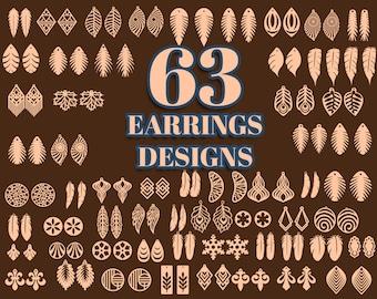 Earring Svg, Leather Earring Svg, Earring Svg Bundle, Earring Template, Faux Leather Earring, Laser Cut Earring Svg, Svg Files For Cricut