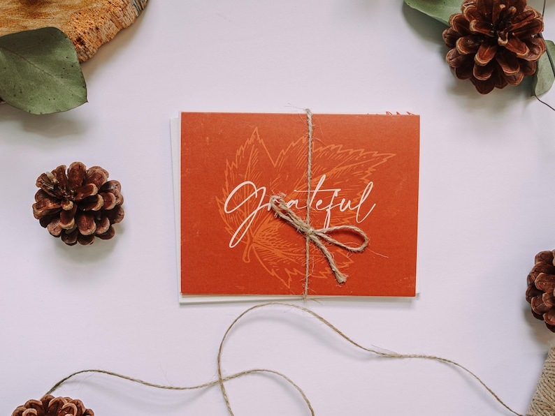 Thanksgiving Thank You Cards Assorted Fall Theme Cards Stationery Set Set of 5 cards Handmade with Envelopes Gratitude /&  Encouragement